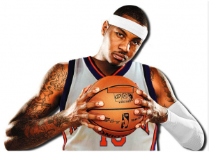 Carmelo Anthony in a Knicks Jersey